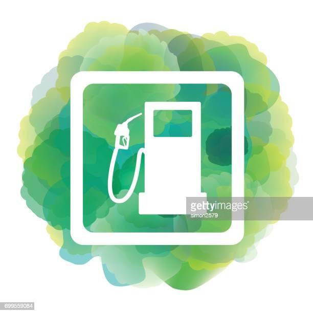 illustrations, cliparts, dessins animés et icônes de icône de carburant sur fond couleur vert aquarelle - fuel pump