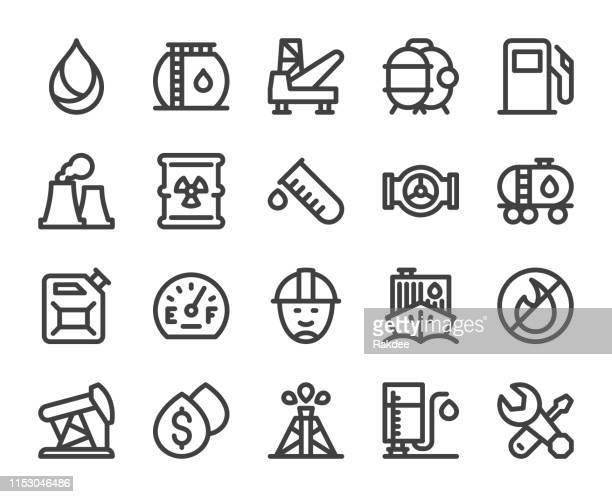 fuel industry - bold line icons - petrochemical plant stock illustrations, clip art, cartoons, & icons