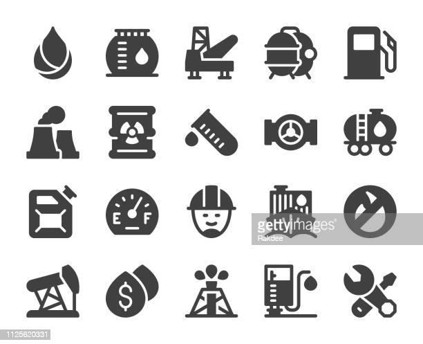 ilustrações, clipart, desenhos animados e ícones de indústria de combustível - ícones - fábrica petroquímica
