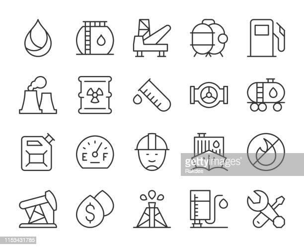 ilustrações, clipart, desenhos animados e ícones de indústria de combustível-ícones claros da linha - fábrica petroquímica