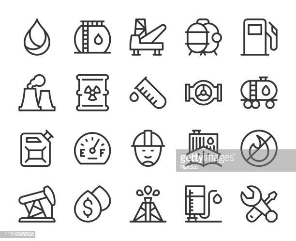 fuel industry - line icons - petrochemical plant stock illustrations, clip art, cartoons, & icons