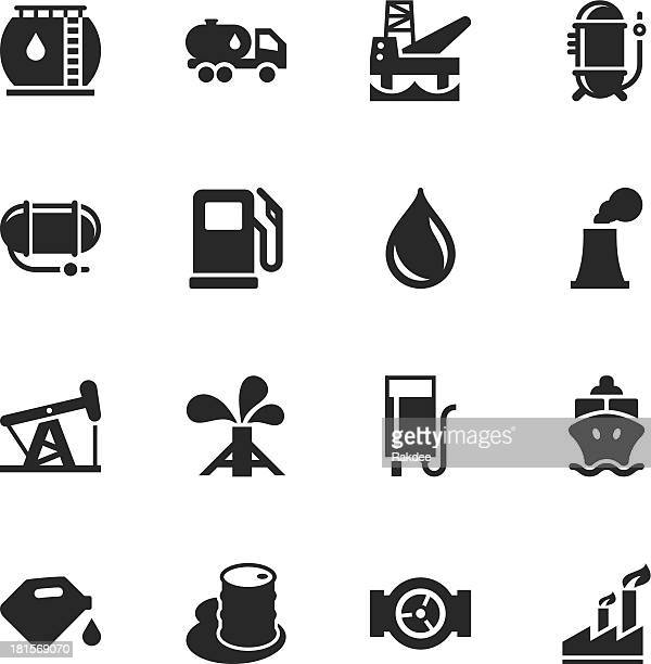 fuel industry silhouette icons - oil pump stock illustrations, clip art, cartoons, & icons