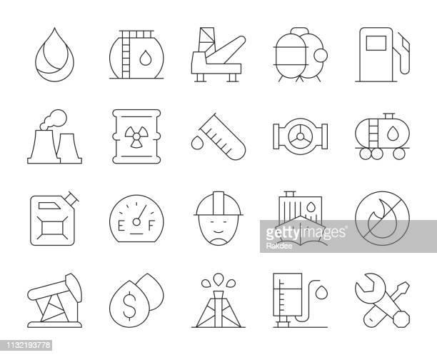 ilustrações, clipart, desenhos animados e ícones de indústria de combustível-ícones finos da linha - fábrica petroquímica