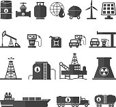 Fuel, Oil and Energy Icons Set Vector Illustration