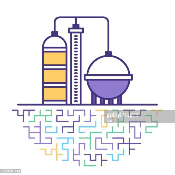 fuel oil & gasoline industry flat line icon illustration - petrochemical plant stock illustrations, clip art, cartoons, & icons
