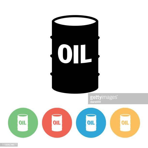 fuel oil industry icon with circle bases - oil drum - oil drum stock illustrations, clip art, cartoons, & icons