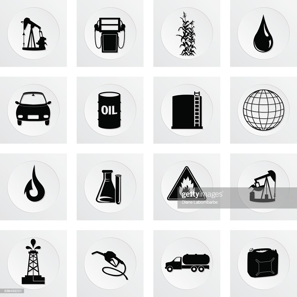 Fuel Oil Industry Square Icon Set
