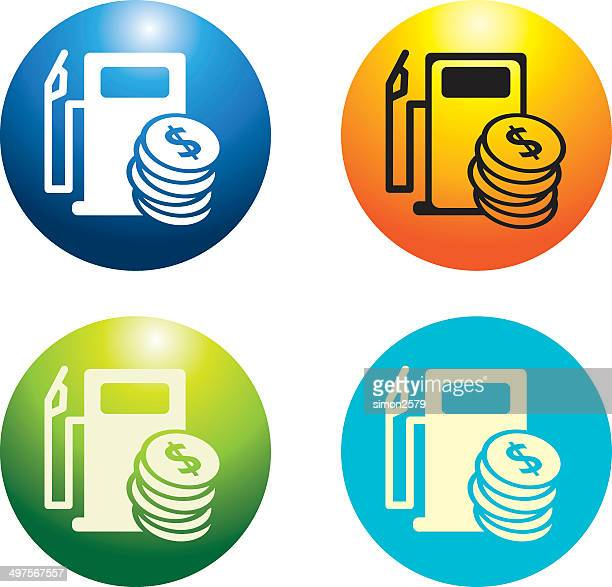 fuel price icon set - gas prices stock illustrations, clip art, cartoons, & icons