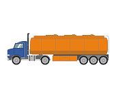 Fuel tank truck.Tanker lorry in a flat style vector.Cartoon vehicle side view.Gasoline orange  trailer petrol tank.