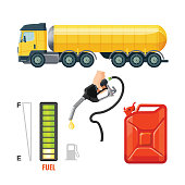 Fuel truck icons, gasoline equipment and supplies. Canister and hook