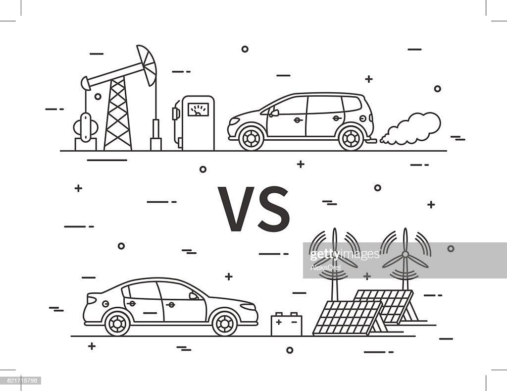 Fuel Vs Electric Car Vector Concept Art