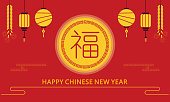 Fu,Happy Chinese New Year with lantern background.Sign for greeting card,flyers,invitation,poster,brochure,banners,calendar