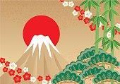 Fuji and pine, bamboo, plum. Japanese style