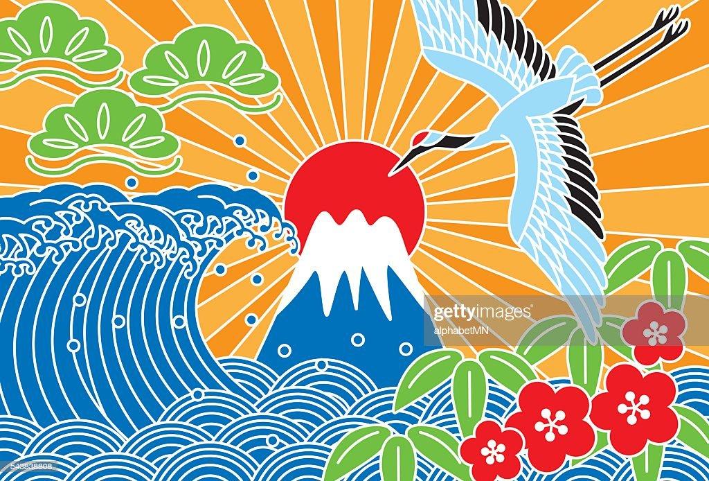 Fuji and the sea. Auspicious picture.