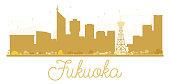 Fukuoka City skyline golden silhouette.