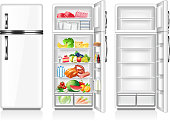 Full and empty fridge isolated on white vector