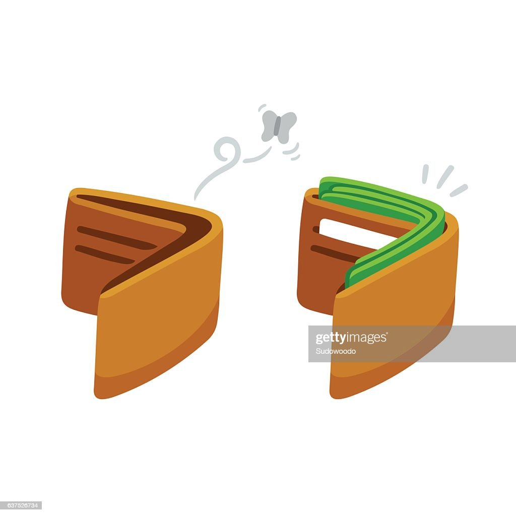Full and empty wallet illustration