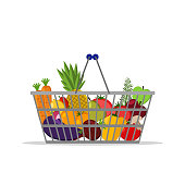 Full basket with different healthy food. Fruits and vegetables. Supermarket shopping basket. Flat vector icon. For card, web, icons, shops
