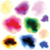 Full color ink and watercolor blots set