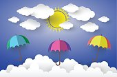 Full color umbrella in Blue sky with Sun and Cloud