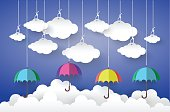 Full color Umbrella with Cloud in Blue sky