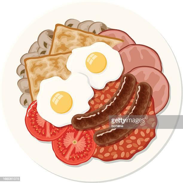 ilustrações, clipart, desenhos animados e ícones de café-da-manhã inglês completo - frito