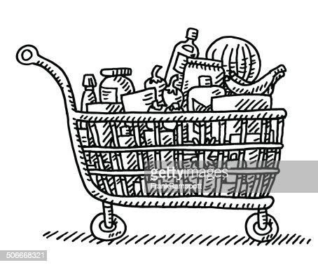 Full Grocery Cart Clipart Full Grocery Shopping ...