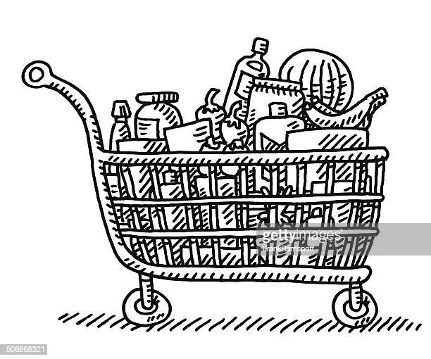 Full Grocery Shopping Cart Drawing
