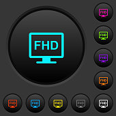 Full HD display dark push buttons with color icons