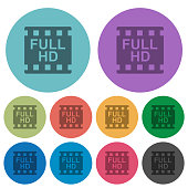 Full HD movie format color darker flat icons