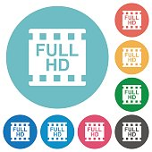 Full HD movie format flat round icons