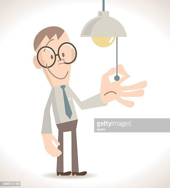 Full length Businessman turn on or off the light