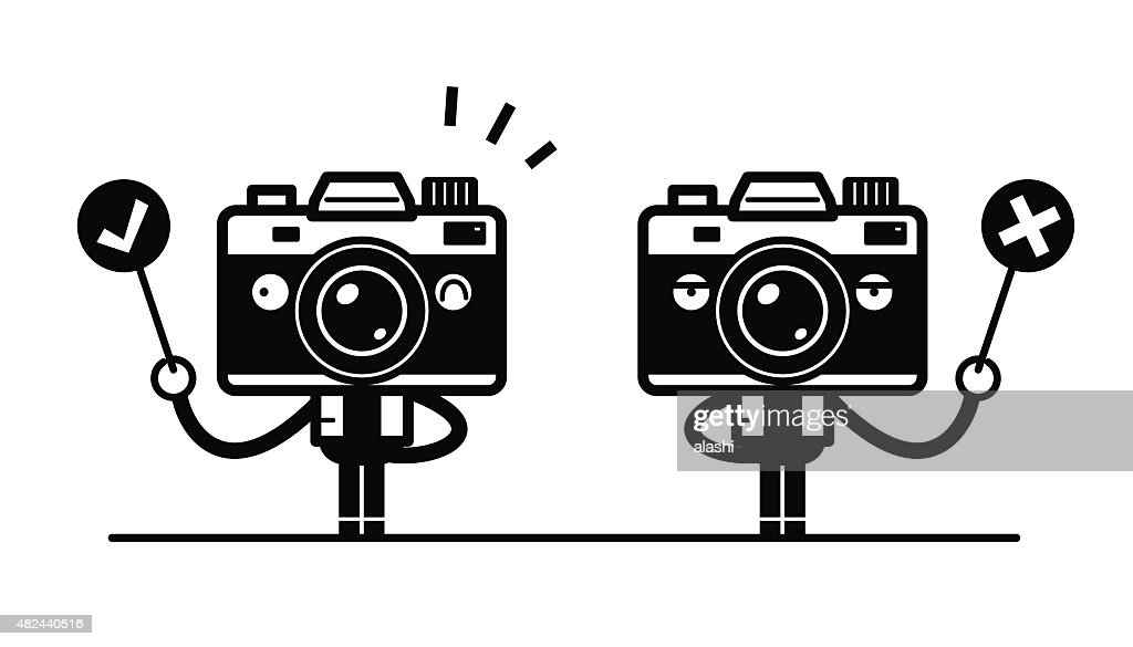 Full length Camera Character standing Holding Right and Wrong Sign