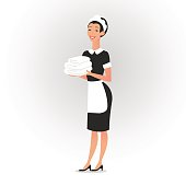 Full length of a housemaid dressed in uniform holding towels isolated over white. Vector illustration
