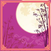 Full moon and bamboo silhouette design