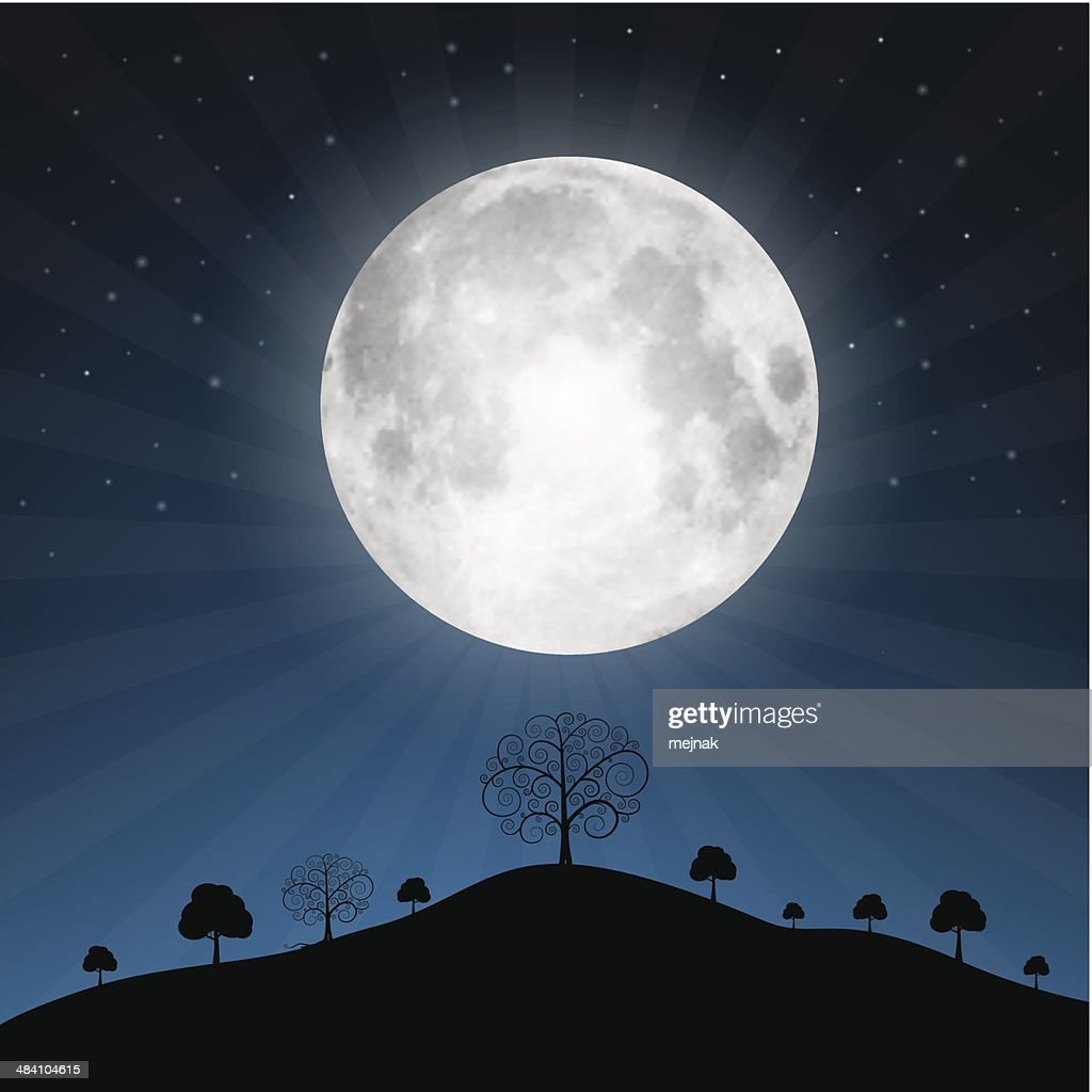 Full Moon and Night Landscape Illustration