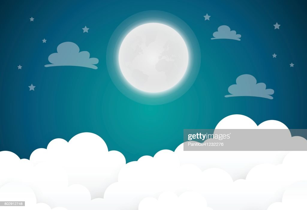full moon and stars in midnight .vector illustration