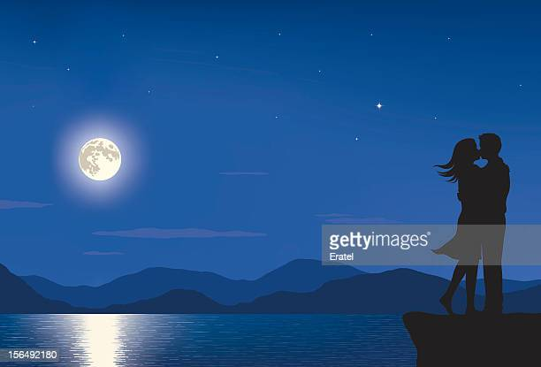 full moon lovers - flirting stock illustrations, clip art, cartoons, & icons
