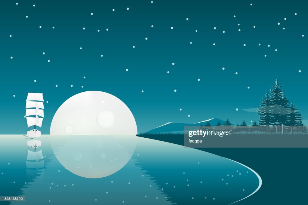 Full moon night landscape with sail ship