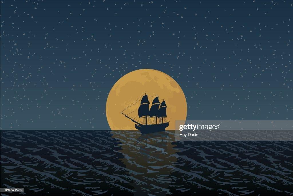 Full Moon Ship : stock illustration