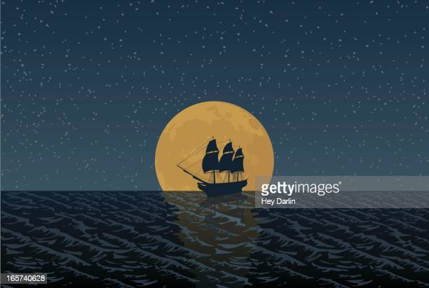 full moon ship - pirate boat stock illustrations, clip art, cartoons, & icons