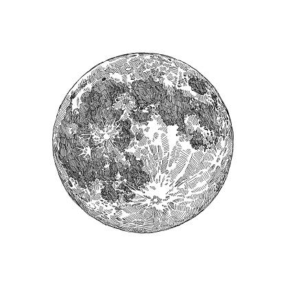 Full Moon Sketch - gettyimageskorea