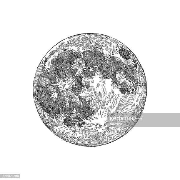 full moon sketch - volcanic crater stock illustrations, clip art, cartoons, & icons