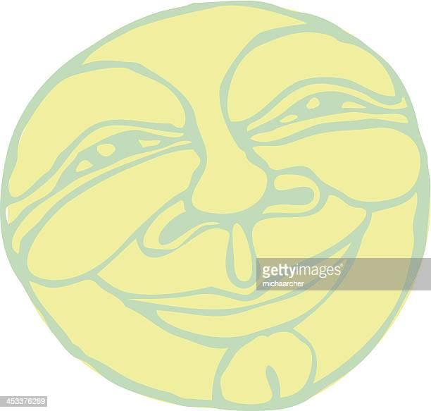 full moon - man in the moon stock illustrations, clip art, cartoons, & icons