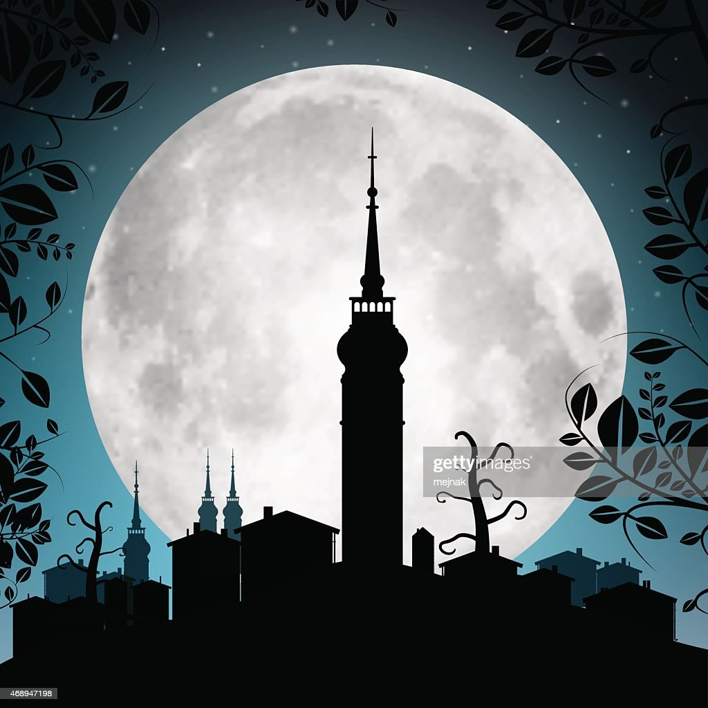 Full Moon Vector Illustration with Town Silhouette