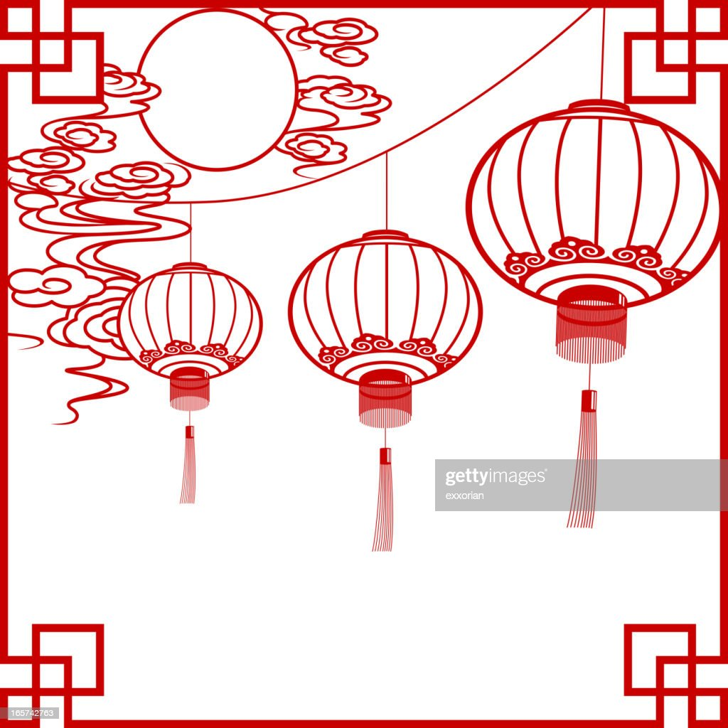 full moon with chinese lantern papercut art frame vector art getty