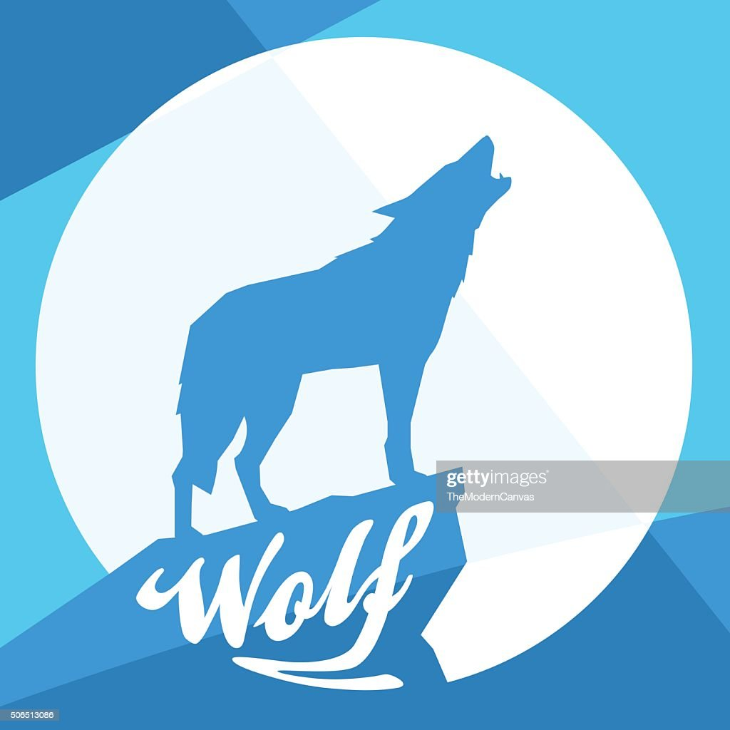 Full moon with silhouette of howling wolf on blue background