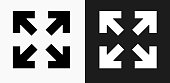 Full Screen Arrows Icon on Black and White Vector Backgrounds