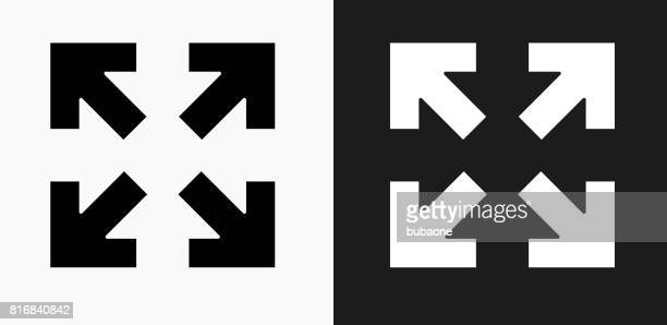 full screen arrows icon on black and white vector backgrounds - zoom in stock illustrations