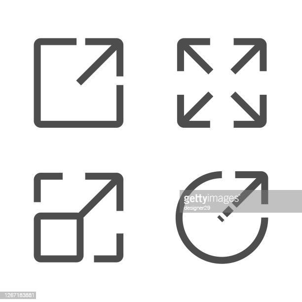 ilustrações, clipart, desenhos animados e ícones de design vetorial de configuração de ícone de tela cheia. - largo descrição geral
